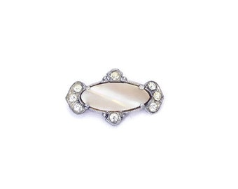 SALE Petite Antique Art Deco Brooch 1920s Silver Rhinestone Brooch with Mother of Pearl, Original C Clasp