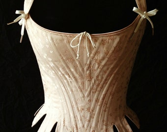 c.1725 Corset, 18th Century Stays, in brocade or coutil, Historical Rococo Marie Antoinette with tabs and straps, all sizes
