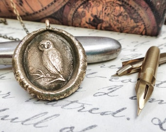 Owl Pendant - Owl Wax Seal Necklace - Wisdom, Mystery, Vigilance and Protection - Personal Talisman