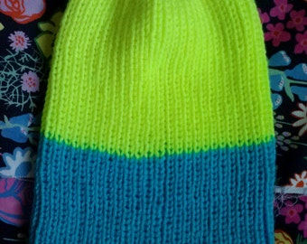 neon yellow and blue colorblock beanie