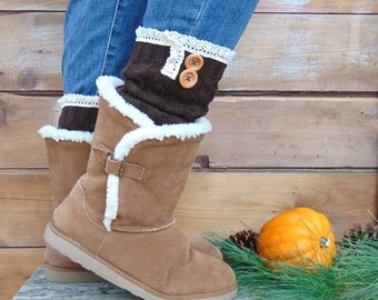 Leg Warmers with Lace and Buttons, Knit Leg Warmers, Brown Leg Warmers, Boot Socks, Long Leg Warmers, Open Toe Socks, Fall Fashion