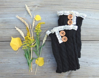 Leg Warmers with Lace and Wood Buttons, Knit Leg Warmers, Black Leg Warmers, Boot Socks, Long Leg Warmers,Open Toe Socks,Gift for Her
