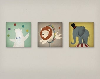 3 Circus Animals Lion, Polar Bear, Elephant Stretched CANVAS Baby Nursery wall art signed  by Ryan Fowler