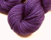Hand Dyed Yarn - Sport Weight Superwash Merino Wool Yarn - Blackberry Tonal - Knitting Yarn, Sock Yarn, Wool Yarn, Purple