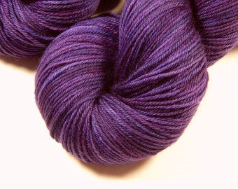Hand Dyed Yarn - Sport Weight Superwash Merino Wool Yarn - Blackberry Tonal - Knitting Yarn, Sock Yarn, Wool Yarn, Purple Yarn
