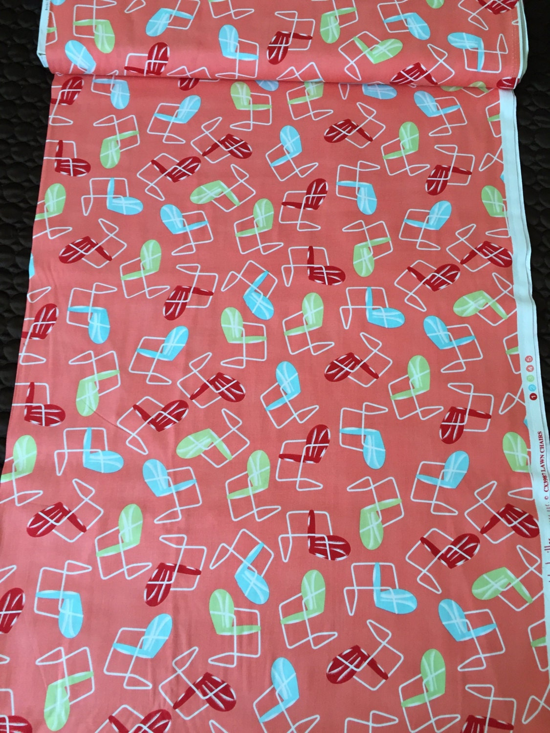 """Retro MM 90s Nifty Novelty """"Lawn Chairs"""" in Lime Green, Aqua & Red on Flamingo Pink Ground//Screen Print//BTY 7+ yards available"""