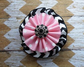 "4"" Black and Pink Pinwheel Bow, Paris Bow, Black and Pink Bow, Back to School, Fall Bow, Polka Dot Bow"