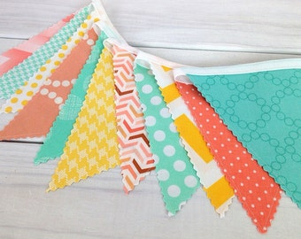 Bunting Fabric Banner Flags, Photo Prop, Baby, Nursery Decor, Birthday Decoration - Mint Green, Peach, Yellow, Seafoam Green, Chevron, Dots