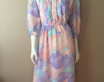 Vintage Women's 80's Secretary Dress, Polyester, Knee Length (M)