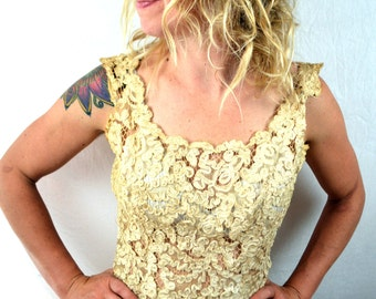 Vintage Distressed 50s 1950s Lace Crochet Wedding Party Dress Gown