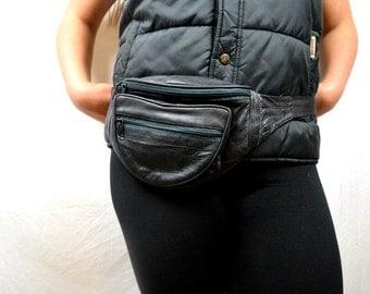 Vintage 80s Black Leather Fanny Pack