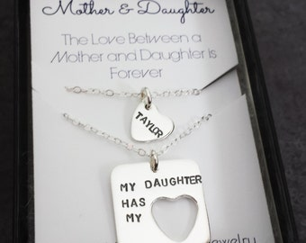 Mother Daughter Necklace Set - Sterling Silver Square with Heart Necklace Set - Mother Daughter Jewelry