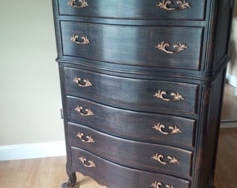 Dresser HIGHBOY /Lowboy Vintage Style Custom PAINT to ORDER Poppy Cottage Painted Furniture