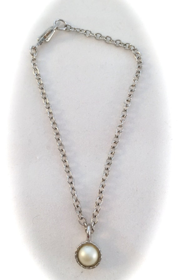 American Girl Sized  Necklace With a pearl accent on a Silver Chain