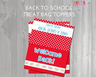 Welcome Back To School Treat Bag Toppers - Personalized with Child's Name - Welcome to Class Snack Topper - Teacher - Student Exchange