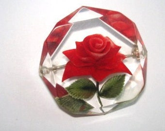 Flower Jewelry  Red Rose Clear Lucite Brooch