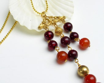 Art Deco Inspired Burgundy, Rust and Gold Beaded Necklace on Gold Plated Ball Chain and Lobster Claw-Venetian Clasp-Venetian glass