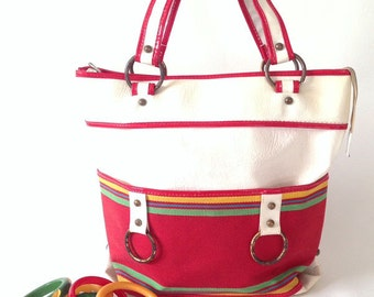 1970s Red and White Canvas Bag