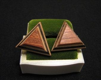 Vintage Modernist Geometric Layered Wood Triangle Pierced Earrings