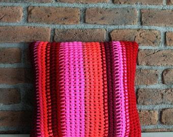 Knit Cushion Hand Knitted Crochet Pillow Case Striped Pillow Bright Neon Pillow Turkish Pillow Pink Burgundy Red Lumbar Pillow Boho Ethnic