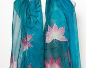 Mother Day Gift Elegant Hand Painted Silk Chiffon Scarf with Lotus Flowers Pink Purple Light Green Turquoise