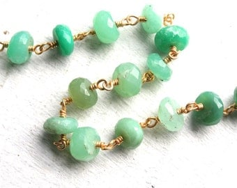 1 Foot Hand Wrapped Large Chrysoprase Gemstones // Gold Plated Wire Chain // Jewelry Supply // 8mm
