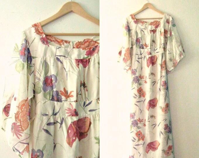 Vintage 70s maxi dress / gauze floral butterfly watercolor print dress / Hippie Boho maxi dress