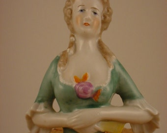 Vintage Porcelain Half Doll, Pincushion Doll   SALE!