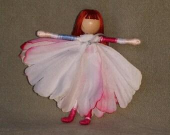 Waldorf Flower Fairy Doll - White Peony Flower Fairy, Bendy doll,Art Doll, Worry Doll, Faery, elemental