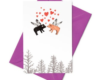 Kissing Flying Pigs Card