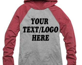 District® - Young Mens 50/50 Raglan Hoodie DT128 Custom District Hooded Sweatshirt Available All Colors & Sizes