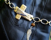 Gold and Silver Cross with Heart Boot Candee Boot Bracelet Jewelry
