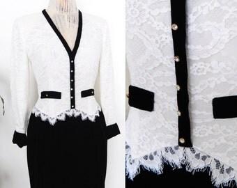 SALE // Oscar de la Renta Cocktail Dress Formal Velvet White Lace V Neck Dress Rhinestone Buttons Evening Miss O