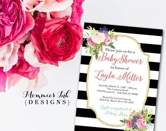 Watercolor Blossoms Bridal Shower Invitation, Black and White Stripes Shower Invitation, Watercolor Pink Roses, Gold Glitter Invitation
