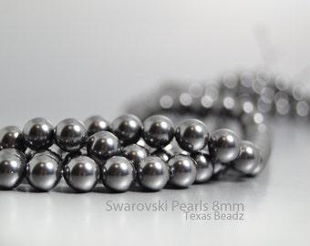 250pcs Swarovski Black Pearls 8mm Round Pearl Beads, Crystal Black Glass Pearls, DIY Wedding Jewelry, Dark Gray, Swarovski Elements 5810