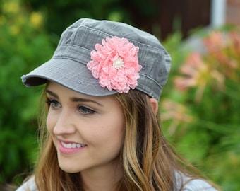 Grey womens cadet hat denim Womens Hat Flower Hat distressed hat Bling Hat Cadet Charcoal grey baseball cap military hat womens accessories
