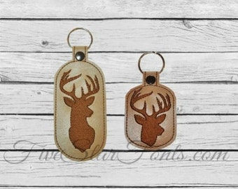 White Tail Buck Key Chains In the Hoop