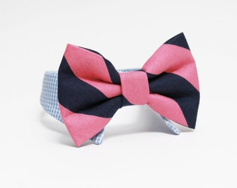 Shirt and bow tie dog collar- striped bow tie- navy and pink wedding dog collar