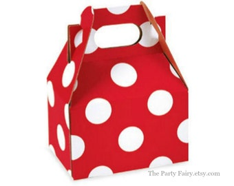 Gable Boxes, 6 Red Polka Dot Mini Gable Boxes, Kraft Box, Wedding Favor Box, Christmas Party Favors, Minnie Mouse Birthday, Party Favor Box