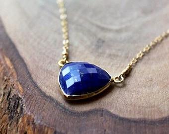 Lapis Triangle Necklace - Bezel Set Stone - 14K Goldfilled