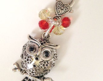 Owl Key Chain, Red, Yellow, and Silver, Chi Omega