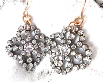 Spectacular Quatrefoil Victorian Paste and Pinchbeck Goldfilled Earrings