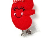 Karrie the Kidney - Retractable ID Badge Reel - Dialysis Badge Reel - Nurse Badge Holder - Nursing Badge Clip - Felt Badge - RN Gift