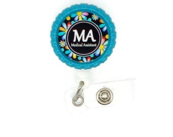 Medical Assistant Daisy  - Name Badge Holder - Retractable ID Badge Reel  - MA Badge Holder - Medical Assistant Badge Holder - Flower Badge