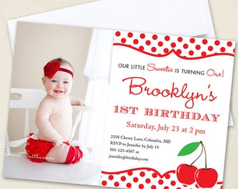 Cherry Party Photo Invitations - Professionally printed *or* DIY printable