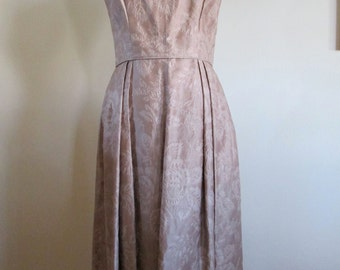 vintage 50s 60s taupe jacquard semi-formal party dress