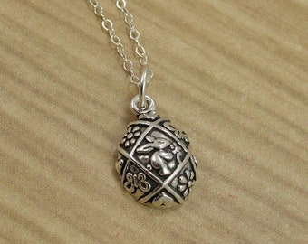 Easter Egg Necklace, Sterling Silver Easter Egg Charm on a Silver Cable Chain