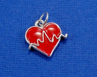 Heartbeat Pulse Charm - Silver Plated Heartbeat Charm for Necklace or Bracelet