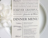 Printable Wedding Thank You Menu - Modern Classic Script - Style MTY2 - GRACEFUL COLLECTION  | Menu  | Thank You