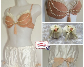 Burlesque Lingerie Set - Boudoir Lace Costume - Nude Bra, Silk Bloomers, Pasties